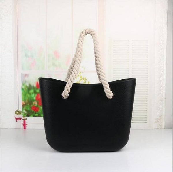 Handbag women beach handles classic trim mini fashion silicone shoulder shopping top waterproof evening bag