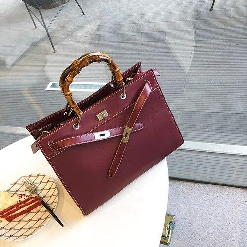 Handbags women fashion bamboo handle large capacity casual totes shoulder famous design leather