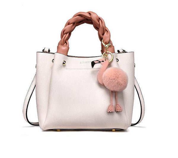 Handbag for women shoulder bag genuine leather fashion flamingo hairball tote luxury designer