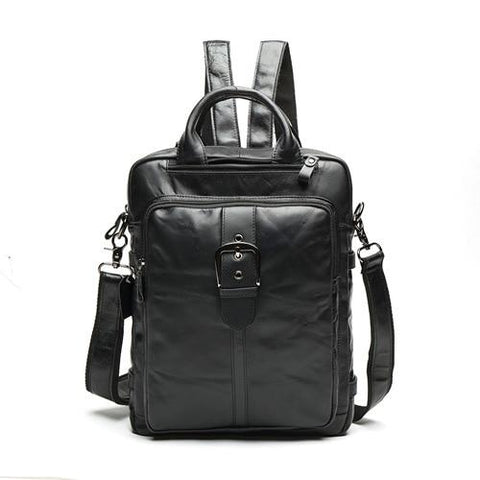 Backpack unisex genuine leather laptop casual messenger schoolbag
