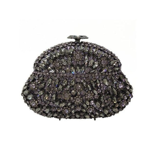 Clutch women double flower hollow out wine pot crystal evening bags metal hard case bridal diamond handbag
