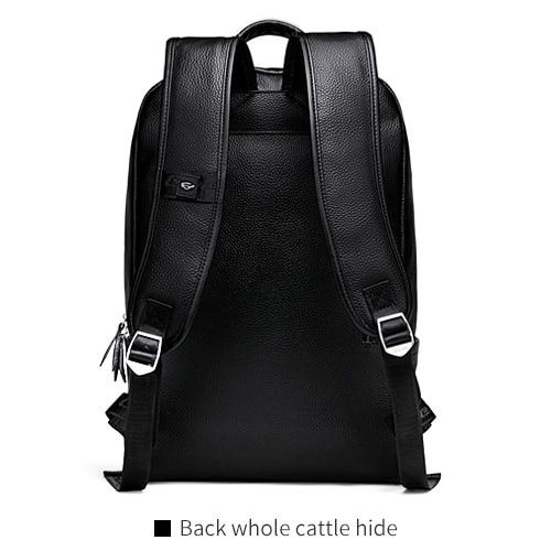 Backpack men's simple leather fashion trend youth leisure travel computer bag
