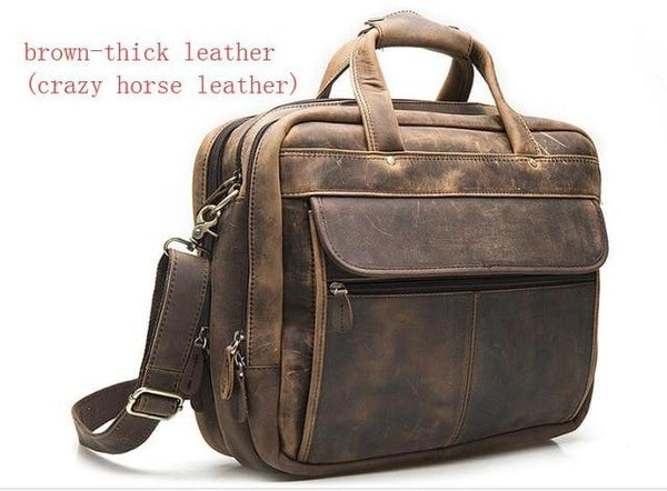 Briefcase men oil waxy leather antique design business laptop document case fashion attache messenger bag tote portfolio
