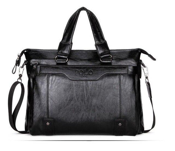 Briefcase male famous brand fashion simple business pu leather laptop casual travel bags shoulder