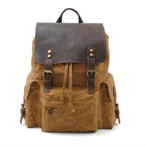 Backpacks unisex teenager top luxury canvas leather large capacity waterproof vintage retro school bag