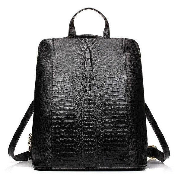 Backpack women 100% genuine leather knapsack crocodile pattern notebook schoolbags travel