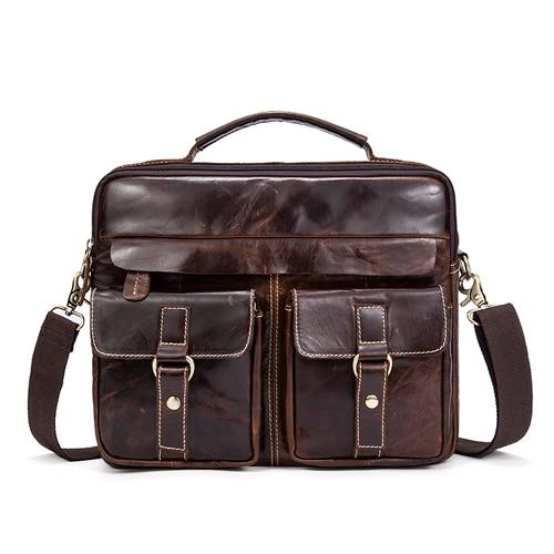Briefcase male messenger genuine leather work business casual travel for documents