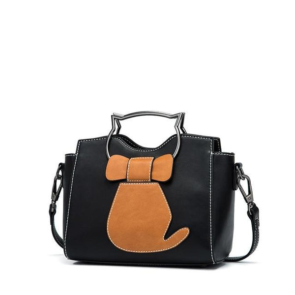 Handbag women tote shoulder crossbody pu leather top-handle kitten appearance messenger