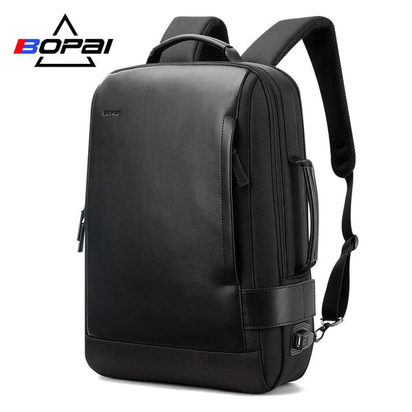 Backpack for men 15.6 inch notebook contractive leather usb charging travel nylon rucksacks