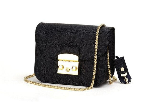 Bags women small flap genuine leather brand designer shoulder with lock chain strap