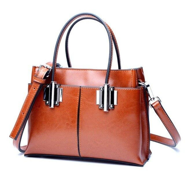 Handbag womens oil wax cow leather large work business shoulder bag tote bags