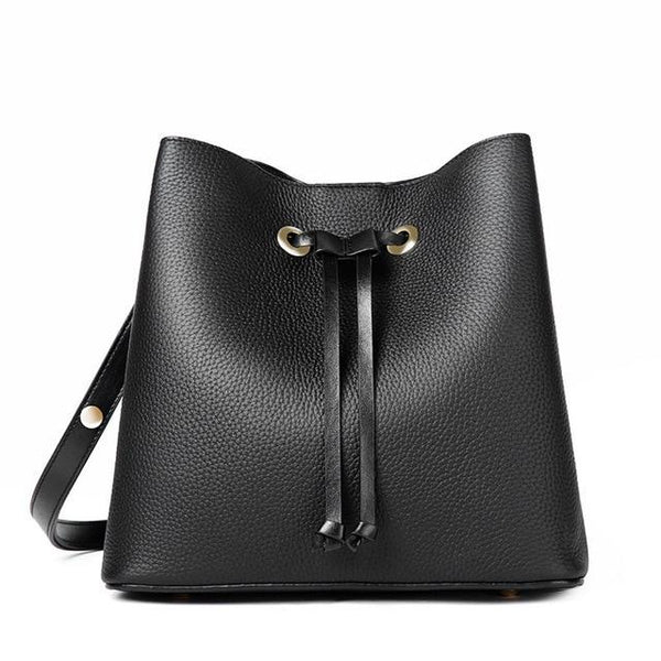 Bag women bucket cowhide genuine leather shoulder messenger simple fashion casual string-opening