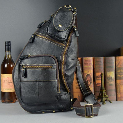 Bag men genuine leather chest famous brand shoulder messenger casual vintage sling