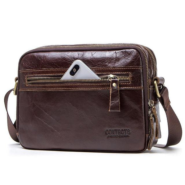 Bag men contact's genuine leather messenger for ipad shoulder credit card luxury brand with coin pocket