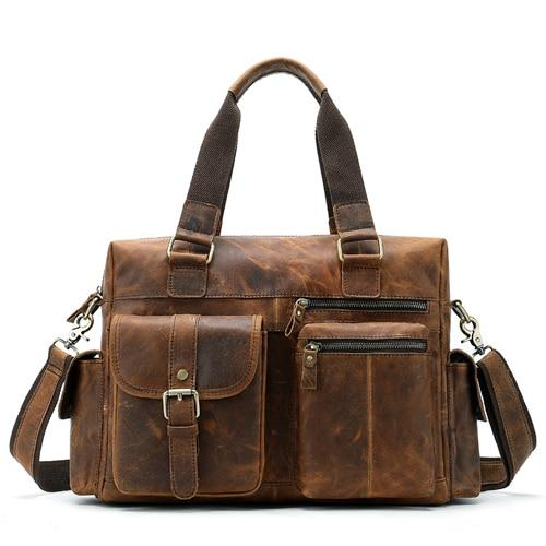 Briefcases male westal genuine leather messenger shoulder casual laptop computer bags for documents
