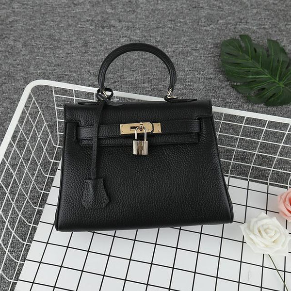 Handbags women's leather lychee pattern shoulder large capacity small square package top layer