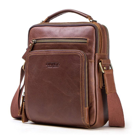 "Bag men genuine leather shoulder 9.7""""ipad casual messenger handbag crossbody"