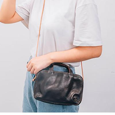 Bag women's handmade head cowhide retro leather small square packets shoulder crossbody summer