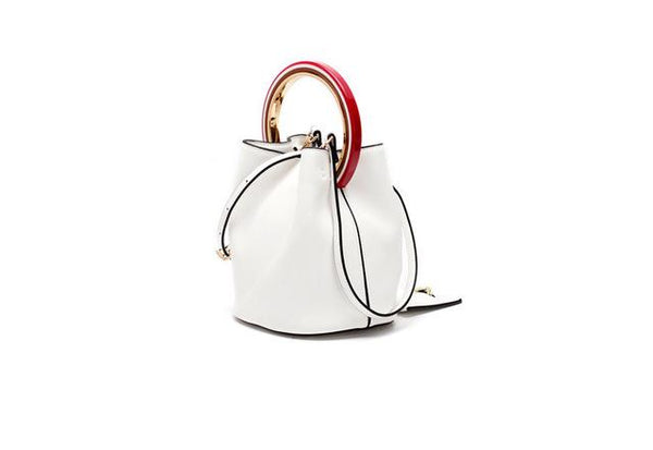 Handbags women design patchwork bucket bag classic small tote split leather messenger
