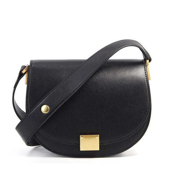 Handbag women fashion 100% genuine leather retro messenger horseshoe buckle simple semi-circle saddle purse