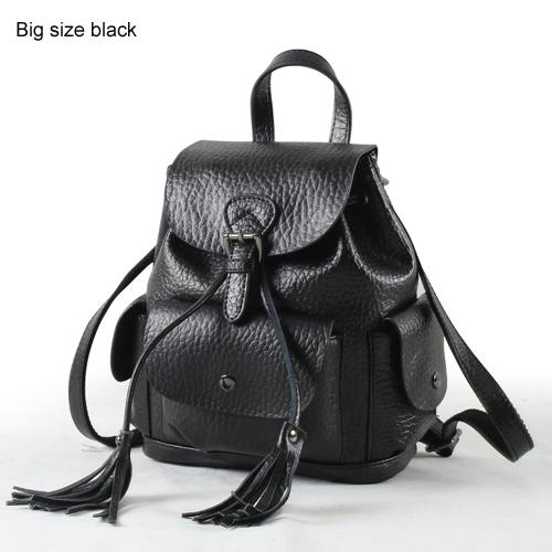 Backpack women leather genuine vintage tassel fashion preppy style school