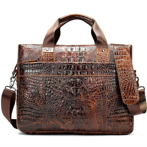 Briefcase men's genuine leather office satchel crocodile pattern portable tote document bags