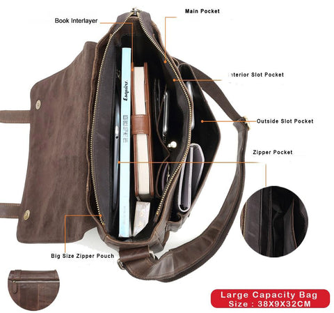 Bag men messenger genuine leather shoulder cowhide casual crossbody