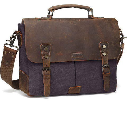 Briefcase men messenger bag leather genuine canvas 14inch laptop crossbody satchel