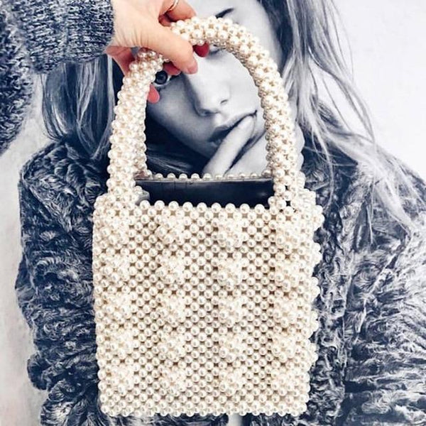 Handbag women pearls bag acrylic crystal beaded box totes party summer vintage luxury brand