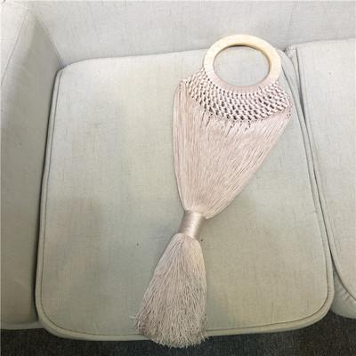 Bag women tassel summer beach round acrylic handle totes thread weave knitting string nets turtle