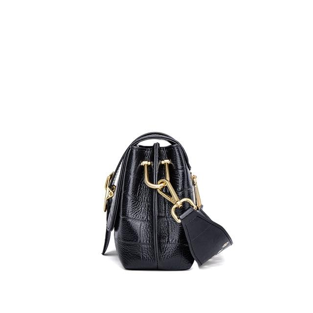 Womens Real Leather Classic Flap over Cross Body Shoulder Bag Maldives Black