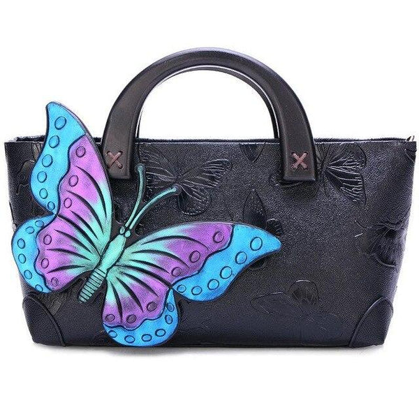 Handbag women's leather handmade painted butterfly shoulder wooden handle vintage crossbody retro tote
