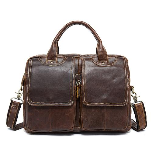 Briefcase men's genuine leather 14inch business laptop leather