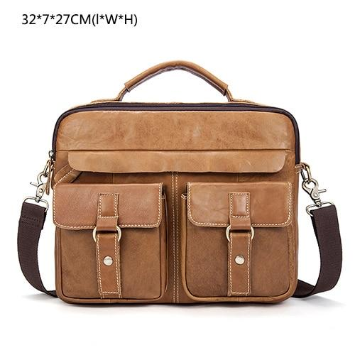 Bag men leather laptop genuine shoulder messenger crossbody briefcase tote