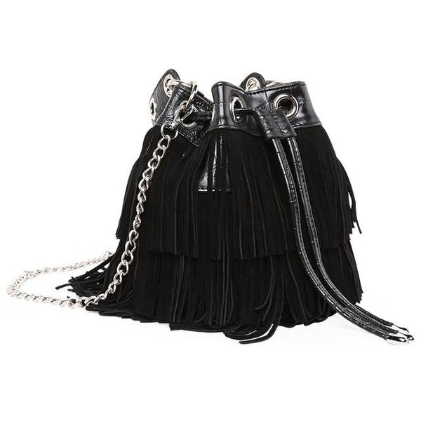 Handbags fashion women suede tassel bucket bag messenger crocodile leather drawstring shoulder crossbody