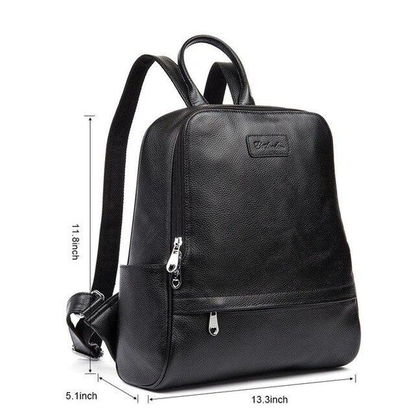 Backpack female genuine leather purse fashion school bags