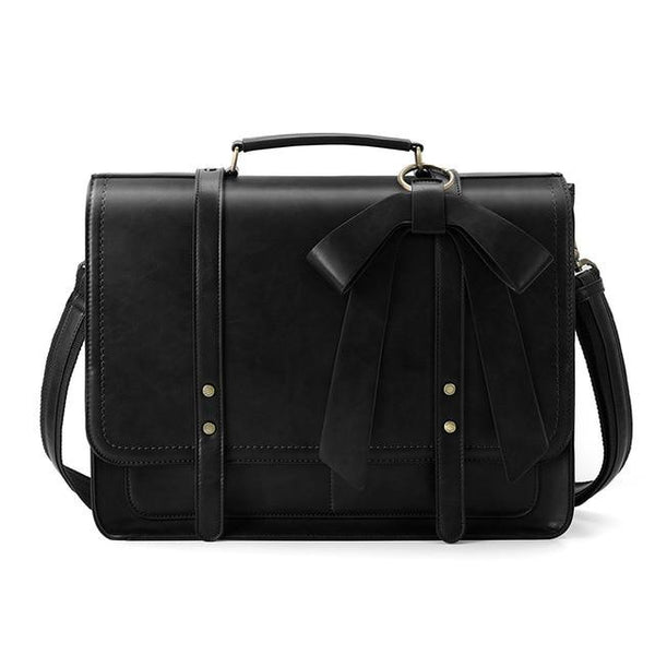 Briefcases women pu leather vintage messenger handbags bags school shoulder for 15.6 inch laptop