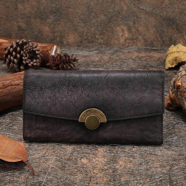 Wallet women clutch bags handmade genuine leather multi credit card holder purse long foldable