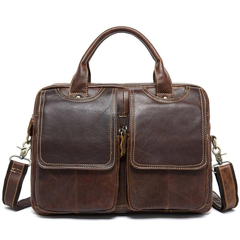 Briefcase for men leather laptop genuine bussiness messenger office