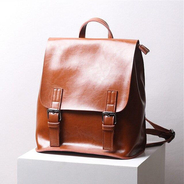 Backpack women genuine leather school bags vintage oil wax calfskin teenagers travel