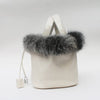 Handbag women real fox fur hair famous brand designer tote natural genuine leather picotin lock bucket