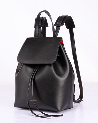 Backpack women leather real schoolbag