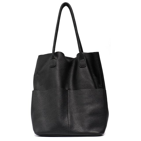 Bags women genuine leather shoulder causal vintage soft cowhide skin shopping bucket liner