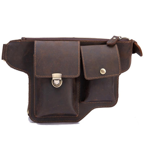 Bag men's genuine leather messenger shoulder travel motorcycle riding fanny pack waist thigh drop leg