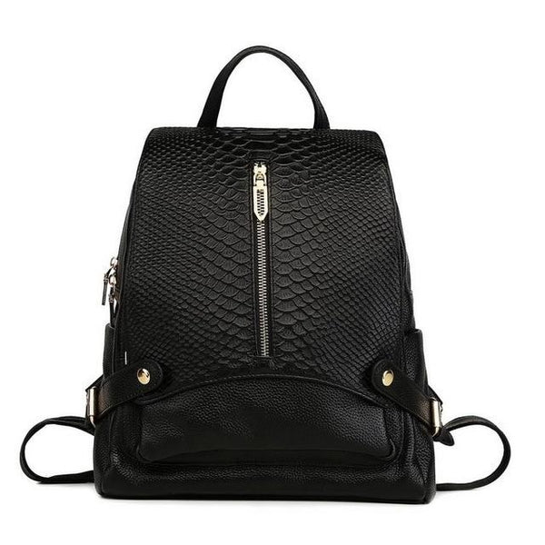 Backpack women large fashion genuine leather crocodile pattern school bag cowhide designer