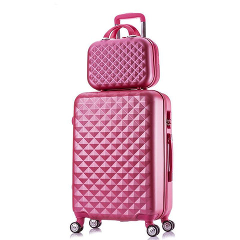 Rolling suitcase women 2pcs/set fashion 20/22/24/28 inch students trolley cosmetic bag case travel spinner password luggage