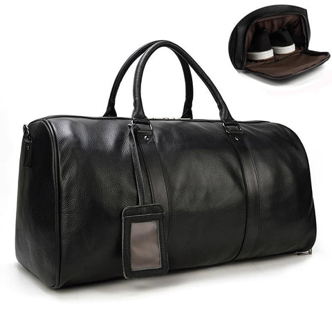 Luggage men natural cow skin travel bags waterproof leather overnight hand weekend business