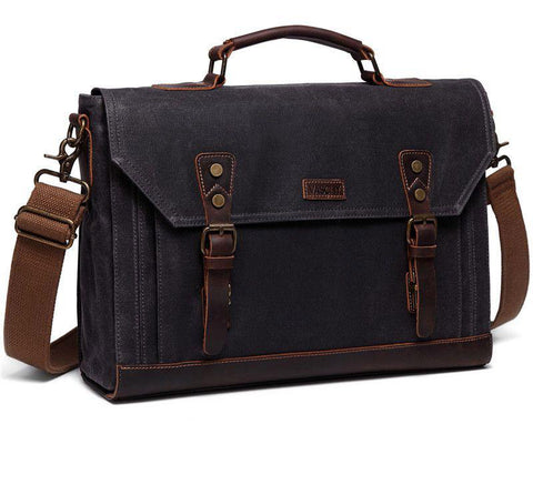 Bag for men canvas messenger vintage leather waxed briefcase 17.3 inch laptop office