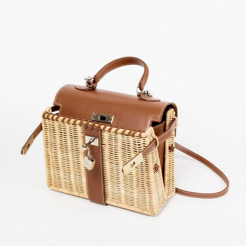 Bag women handmade rattan large capacity woven holiday package aircraft transportation