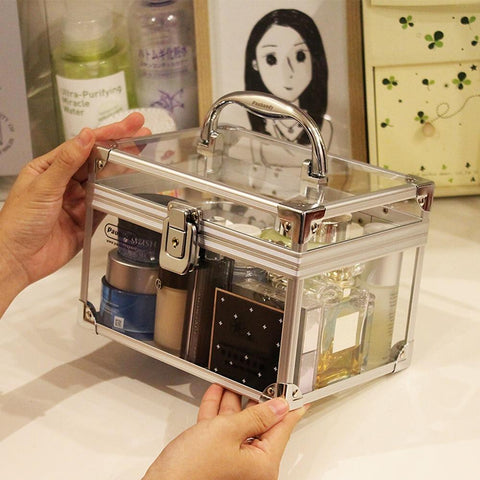 Cosmetic case acrylic makeup box organizer with lock aluminium alloy clear